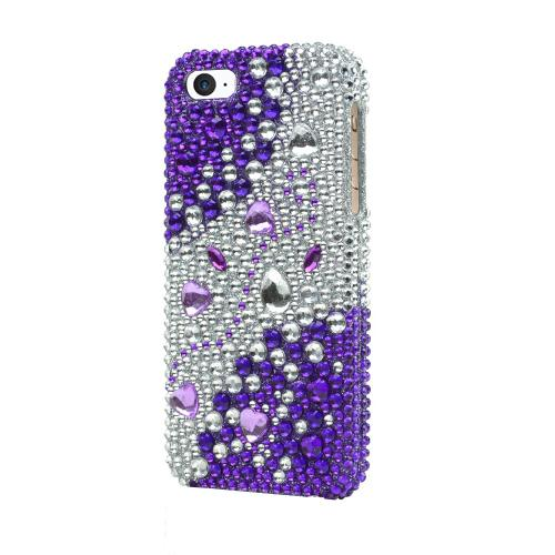 [Apple iPhone SE/5/5S] Bling Case,  [Purple/ Silver Rhinestones]  Shiny Sparkling Bling Gems Protective Hard Case Cover