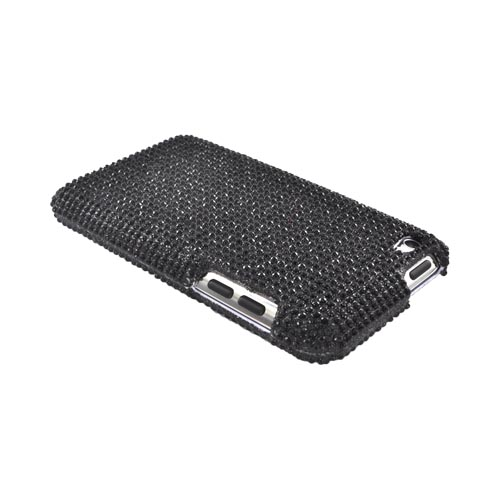 Apple iPod Touch 4 Bling Hard Case w/ Crowbar - Black Gems