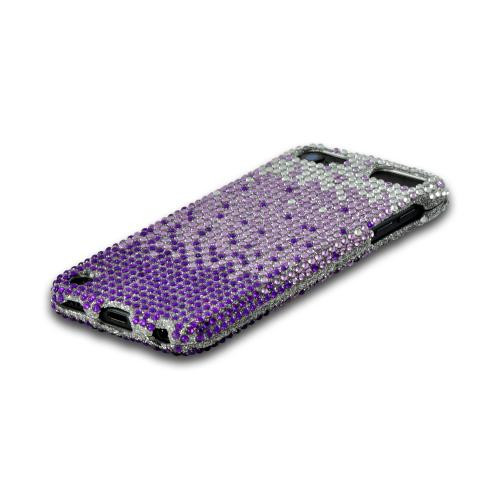 Purple/ Lavender Waterfall on Silver Gems Bling Hard Case for Apple iPod Touch 5