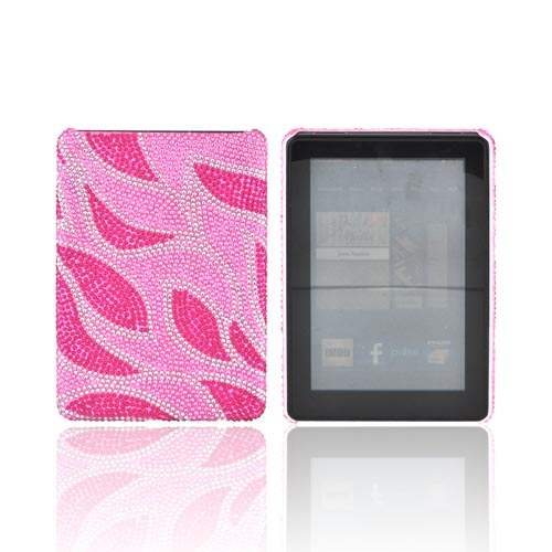 Amazon Kindle Fire Bling Hard Case - Hot Pink Leaves on Baby Pink Gems