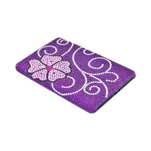 Amazon Kindle Fire Bling Hard Case - Pink Flower on Purple Gems
