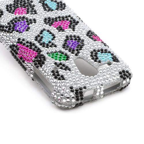 Rainbow Leopard on Silver Bling Hard Case for Kyocera Hydro Edge