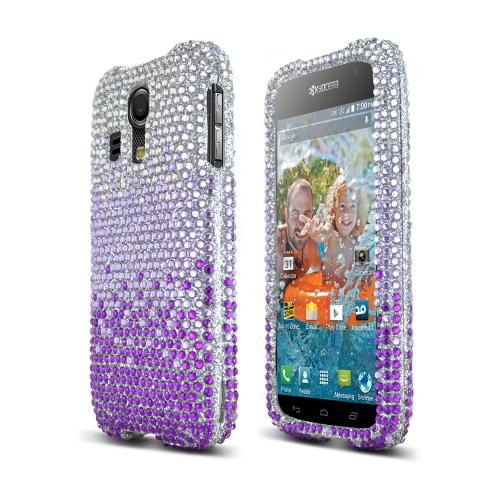 Purple/ Lavender Waterfall on Silver Bling Gems Kyocera Hydro Icon Hard Case Cover; Jeweled Fashion Cute Plastic Case; Perfect fit as Best Coolest Design cases