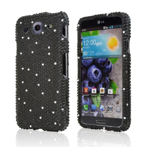 Black w/ Silver Gems Bling Hard Case for LG Optimus G Pro