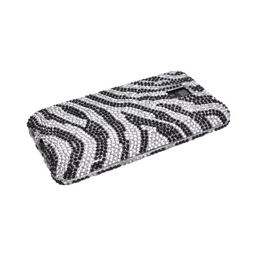 T-Mobile G2X Bling Hard Case - Black Zebra on Silver