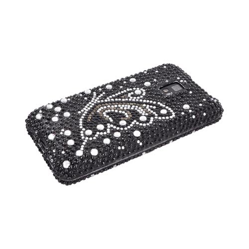 T-Mobile G2X Bling Hard Case - Silver/ Gold Butterfly on Black Gems