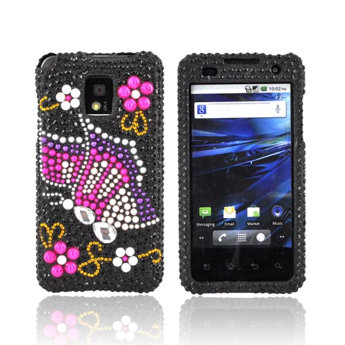 T-Mobile G2X Bling Hard Case - Pink/ Purple Butterfly on Black Gems