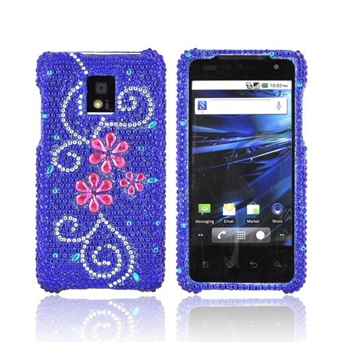 T-Mobile G2X Bling Hard Case w/ Crowbar - Pink Flowers on Blue Gems