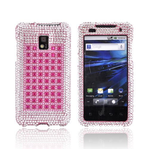 T-Mobile G2X Bling Hard Case - Pink & Silver on Pink Gems