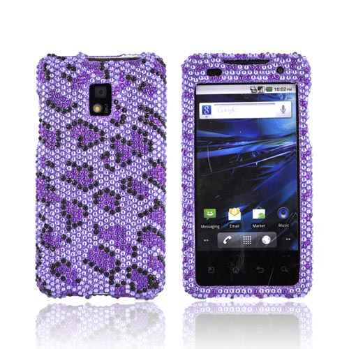 T-Mobile G2X Bling Hard Case - Purple/ Black Leopard on Light Purple Gems