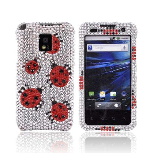 T-Mobile G2X Bling Hard Case - Red Ladybugs on Silver Gems