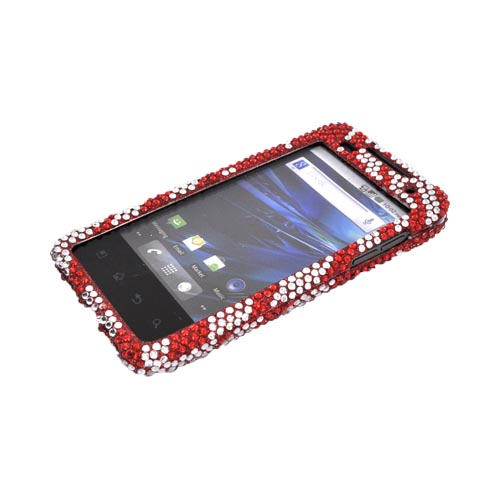 T-Mobile G2X Bling Hard Case - Red Zebra on Silver Gems