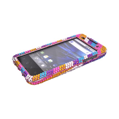 T-Mobile G2X Bling Hard Case - Rainbow Stripes on Pink