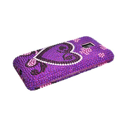 T-Mobile G2X Bling Hard Case - Silver/ Black Heart on Purple Gems