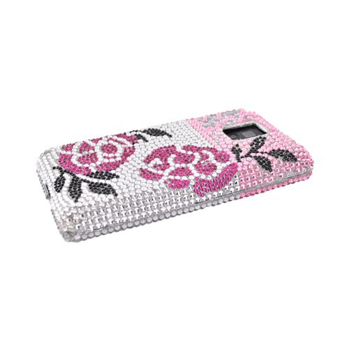 T-Mobile G2X Bling Hard Case - Pink Winter Rose on Silver