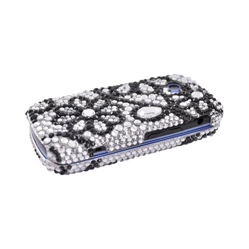 LG Neon II GW370 Bling Hard Case - Black Flower Lace on Silver