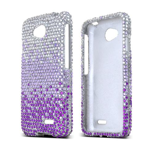 Purple/ Lavender Waterfall on Silver Gems LG Optimus Exceed 2/ LG L70 Hard Case Cover; Jeweled Fashion Cute Plastic Case; Perfect fit as Best Coolest Design cases