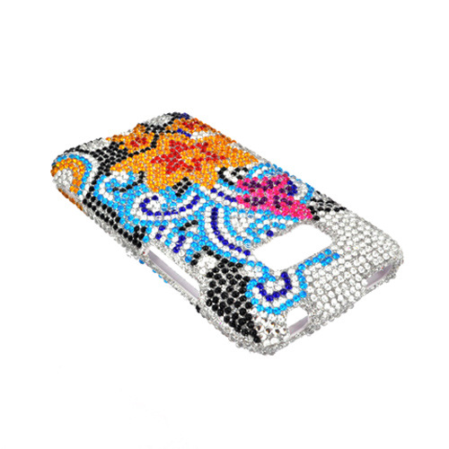 LG Optimus Elite Bling Hard Case - Yellow Lily w/ Turquoise Swirls on Silver Gems