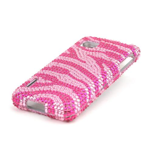 Hot Pink Zebra Gems on Baby Pink Bling Hard Case for LG Optimus F3 - Sprint/ Virgin Mobile