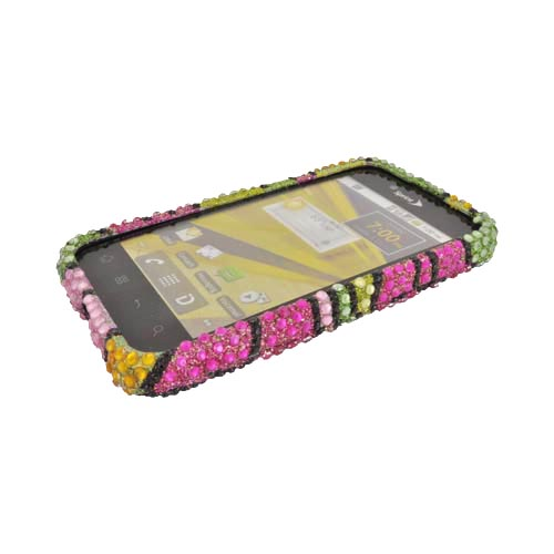 LG Marquee LS855 Bling Hard Case - Green/ Hot Pink/ Yellow Hawaiian Flowers