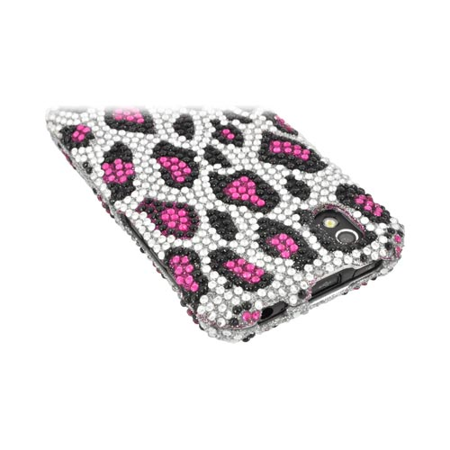LG Marquee LS855 Bling Hard Case - Pink/ Silver Leopard