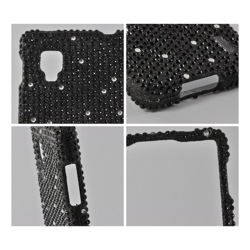 White Gems on Black Gems Bling Hard Case for LG Optimus G (Sprint)