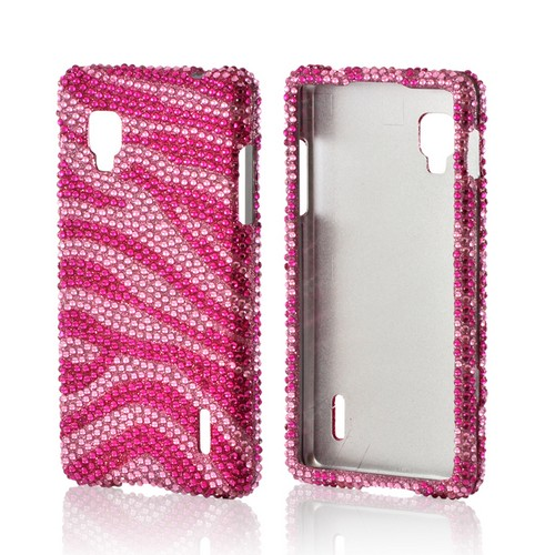 Hot Pink/ Baby Pink Zebra Bling Hard Case for LG Optimus G (Sprint)