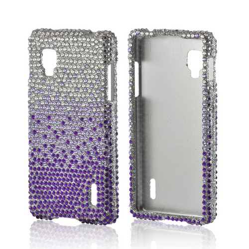 Purple/ Lavender Waterfall on Silver Gems Bling Hard Case for LG Optimus G (Sprint)