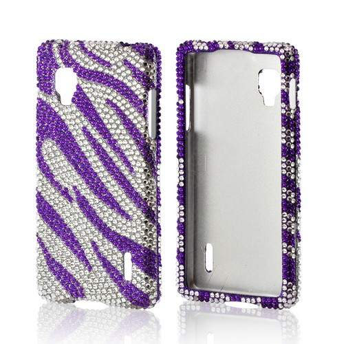 Purple/ Silver Zebra Bling Hard Case for LG Optimus G (Sprint)