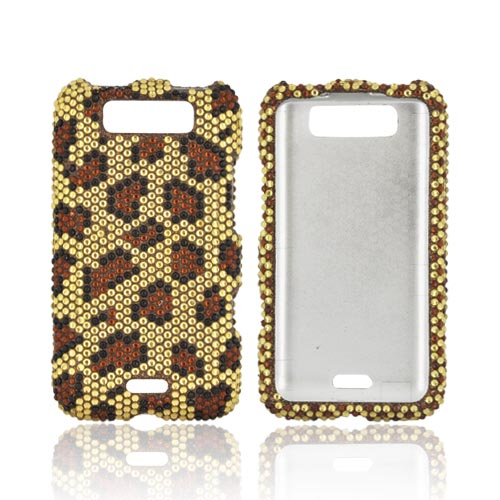 LG Viper 4G LTE/ LG Connect 4G Bling Hard Case - Brown/ Black Leopard on Gold Gems (Only Fits Metro PCS Version)