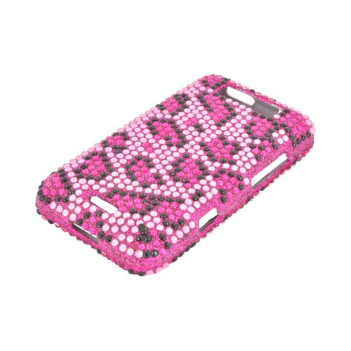 LG Viper LTE 4G/ LG Connect 4G Bling Hard Case - Hot Pink/ Black Leopard on Pink Gems