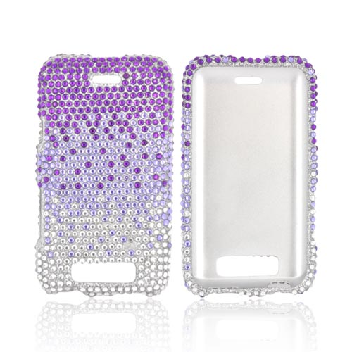 LG Viper LTE 4G/ LG Connect 4G Bling Hard Case - Purple/ Lavender Waterfall on Silver Gems