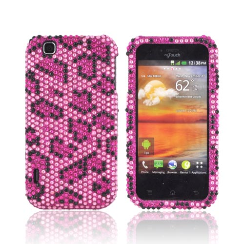 T-Mobile MyTouch Bling Hard Case - Hot Pink/ Black Leopard on Baby Pink Gems