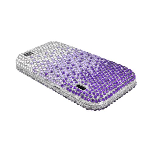 T-Mobile MyTouch Bling Hard Case - Purple/ Lavender Waterfall on Silver Gems