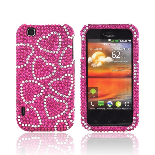 T-Mobile MyTouch Bling Hard Case - Silver Hearts on Hot Pink Gems