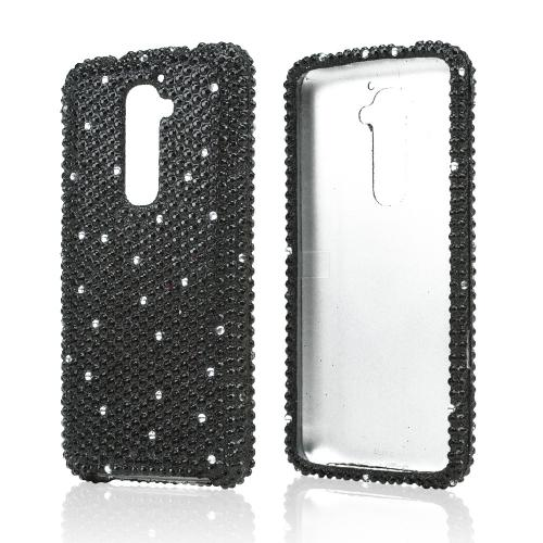 Black Gems w/ White Bling Hard Case for LG G2 (AT&T, T-Mobile, & Sprint)