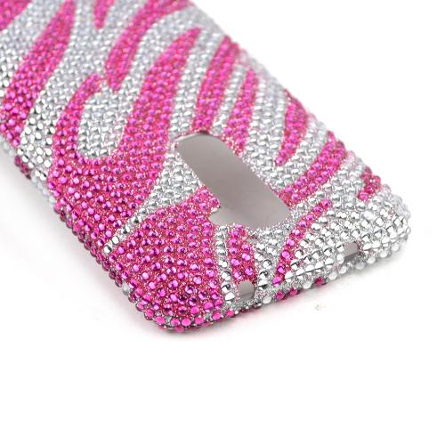 Hot Pink Zebra on Silver Gems Bling Hard Case for LG G2 (AT&T, T-Mobile, & Sprint)