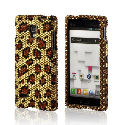 Brown Leopard on Gold Gems Bling Hard Case for LG Optimus L9