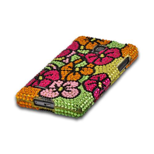 Green/ Hot Pink/ Yellow Hawaiian Flowers Bling Hard Case for LG Optimus L9