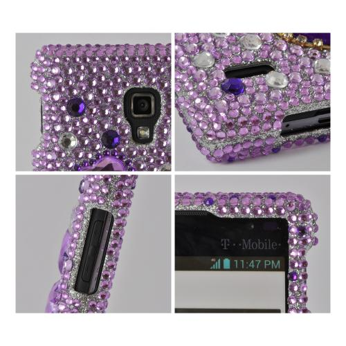 Purple Hearts on Purple/ Clear Gems Bling Hard Case for LG Optimus L9