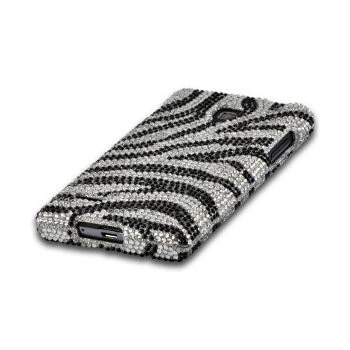 Silver/ Black Zebra Bling Hard Case for LG Optimus L9