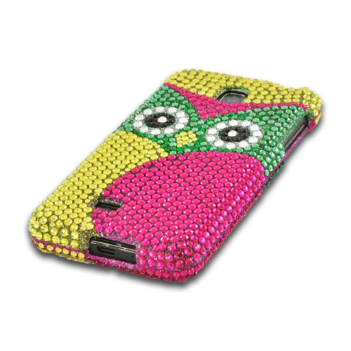 Green/ Hot Pink/ Yellow Owl Bling Hard Case for LG Escape