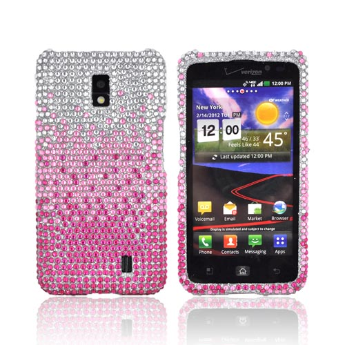 LG Spectrum Bling Hard Case - Magenta/ Baby Pink Waterfall on Silver Gems