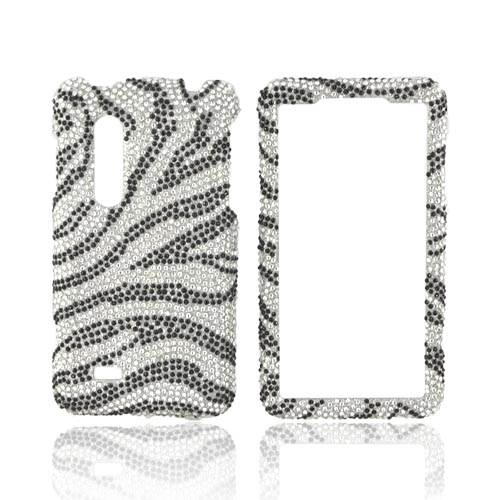 LG Thrill 4G Bling Hard Case - Black Zebra on Silver Gems