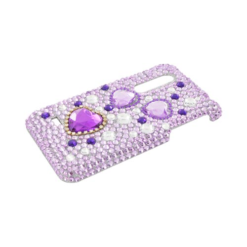 LG Thrill 4G Bling Hard Case - Purple Hearts on Light Purple/ Silver Gems