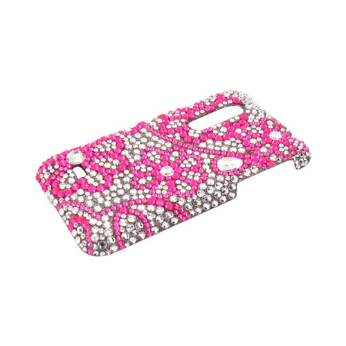LG Thrill 4G Bling Hard Case - Pink Lace Flowers on Silver Gems