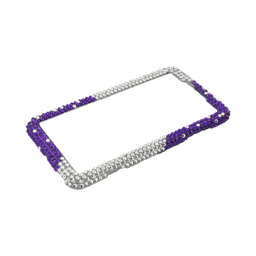 LG Thrill 4G Bling Hard Case - Purple/ Silver Hearts & Gems