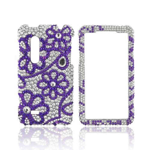 LG Thrill 4G Bling Hard Case - Purple Lace Flowers on Silver Gems