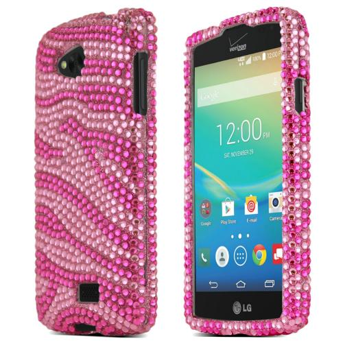 Lg Transpyre Shiny Sparkling Gem Case [baby Pink Zebra On Hot Pink Shiny Sparkling Gem] Protective Hard Case W/ Fashion Crystal Diamond Rhinestones