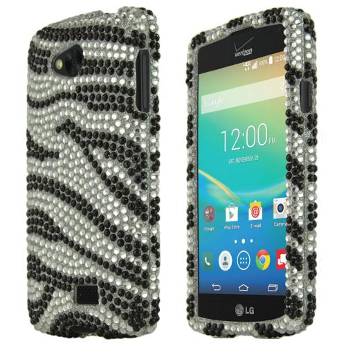 Lg Transpyre Shiny Sparkling Gem Case [black Zebra On Silver Shiny Sparkling Gem Gems] Protective Hard Case W/ Fashion Crystal Diamond Rhinestones